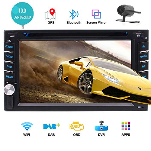 Double DIN Android 10.0 Car Stereo GPS Navigation Head Unit 6.2 inch Car Radio Receiver with Bluetooth Capcitive Touchscreen WiFi CD DVD Player Sat Navi USB SD Screen Mirroring Rearview Camera