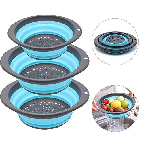 QiMH Collapsible Colander Set of 3 - Plastic Sturdy Base with Non-slip Handle - 2 pcs 4 Quart and 1 pcs 2 Quart - BPA Free Foldable Food Strainer ()