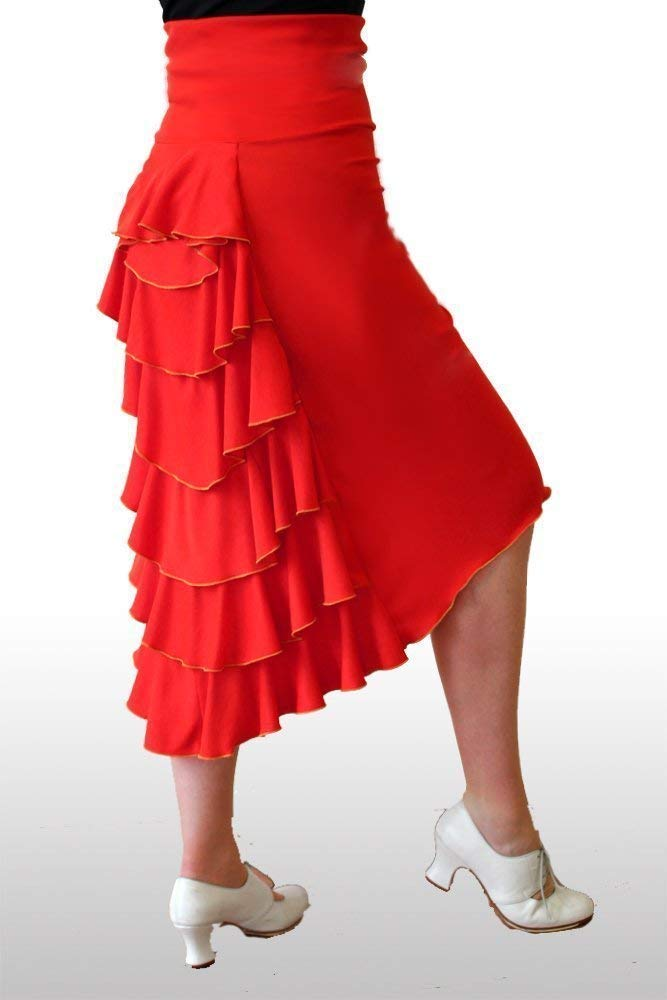 Falda de baile con polisó n de volantes. ¡ Perfecta para el Flamenco, el Tango o la Salsa! Todos los colores.
