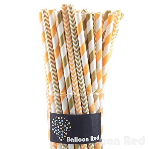 [Biodegradable Paper Drinking Straws (Premium Quality), Pack of 100, Combo - Gold & Orange / &] (Homemade Kids Halloween Costumes Unique)