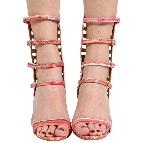Pink Multi 3 Ladies Heel COLLECTION Sandals CORE Size Multi Stiletto Shoes Strappy New Party Womens HIGH 8 CfnFqZ
