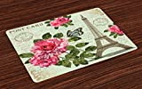 Ambesonne Paris Place Mats Set of 4, Shabby Chic Romantic Roses Flowers Leaves with Eiffel Tower and Abstract Lettering, Washable Fabric Placemats for Dining Room Kitchen Table Decor, Multicolor