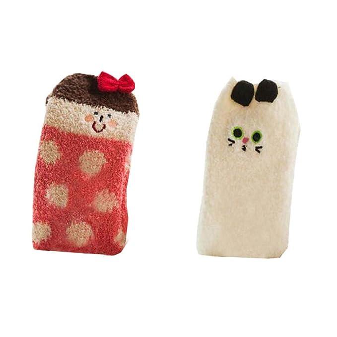 Calcetines gruesos de invierno de 2 piezas para mujer Calcetines de piso suave borroso de confort
