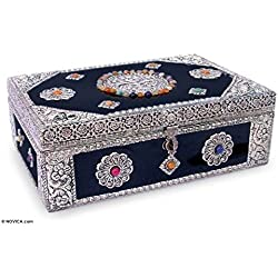 NOVICA Nickel Repousse Mango Wood Jewelry Box with Glass Accents, Antique Sophistication'
