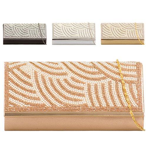 KTL644 Handbag Women's Clutch Stylish Pearl Ladies Bag Wedding Diamante Black Evening wOq818Zzx