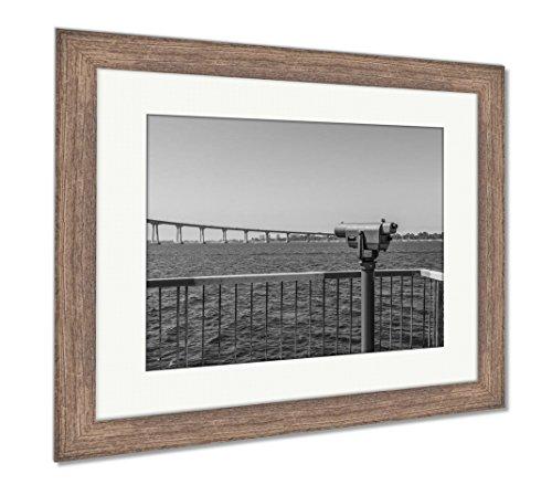 Ashley Framed Prints Sightseeing Binoculars Facing The Coronado Bridge And San Diego Bay As Seen, Wall Art Home Decoration, Black/White, 34x40 (frame size), Rustic Barn Wood Frame, AG6525643 -