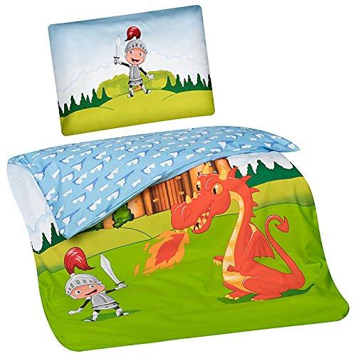 Aminata Kids Kinder-Bettwäsche Ritter Drache 100x135 cm Jungs hell-blau grün-e Baumwolle Reissverschluss Wende Ritterschloss süße cool-e