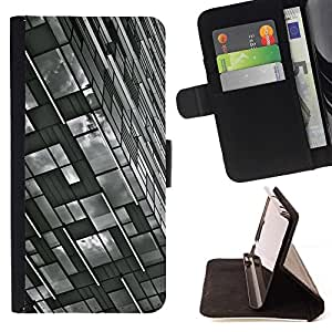 For HTC One M9 Case , Ingeniería de Edificación Blanco Negro- la tarjeta de Crédito Slots PU Funda de cuero Monedero caso cubierta de piel