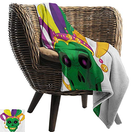 BelleAckerman Faux Fur Throw Blanket,Mardi Gras,Scary Looking Green Skull Mask with Carnival Hat Beads and Earring Cartoon Style,Multicolor,Soft Fabric for Couch Sofa Easy Care 50