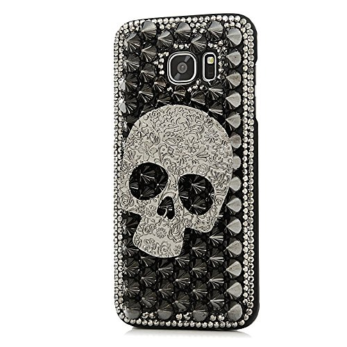 Samsung Galaxy S6 Case, STENES Luxurious Crystal 3D Handmade Sparkle Diamond Rhinestone Clear Cover with Retro Bowknot Anti Dust Plug – Punk Big Skull…