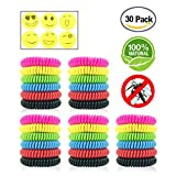 Mosquito Repellent Bracelets - 30 Pack DEET-FREE Natural Waterproof Wristbands - Pest Bug Control Bands For Kids & Adults Outdoor Camping Fishing Traveling