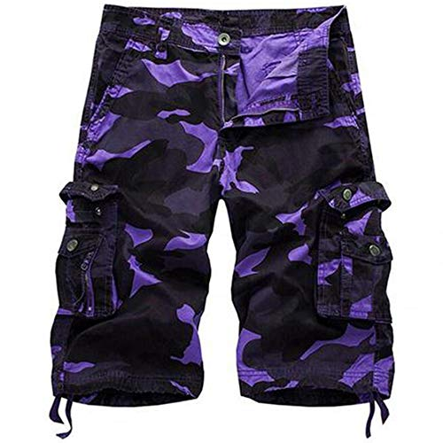 Osmyzcp Men's Casual Loose Fit Cargo Shorts, Straight Multi-Pocket Cotton Outdoor Wear-Bapai-Purple Camo-36