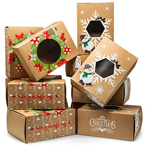 Joyousa Christmas Treat & Cookie Gift Boxes (Set of 12) - for Gift Giving - for Treats, Containers & Tins, Pastry, Candy, Party Favors - Jumbo Vintage Kraft Design with Clear Window -