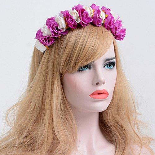 Playa Cabeza Flores Acmede Floral Corona Boda P Rosa Cabello Invernadero Vacaciones Diadema q0X0w8r4