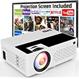TMY Projector with 100 Inch Projector Screen, 1080P Full HD Supported Video Projector 4500 Lumen, Mini Movie Projector Compatible with TV Stick HDMI VGA USB TF AV, for Home Cinema & Outdoor Movie.