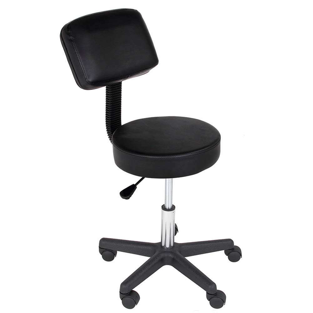 Sgabello Estetista con Schienale Girevole Ideale per Studio Medico Seduta in Ecopelle Colore Nero Altezza Regolabile Small srl