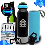 Beer Bottle Cooler - Stainless Steel Insulator Keeps Your Beer Ice Cold - Black Matte - Portable 12oz Universal Fit Tight Seal with Bottle Opener + Carry Bag + Carabiner + LED Light - BEER GUARD