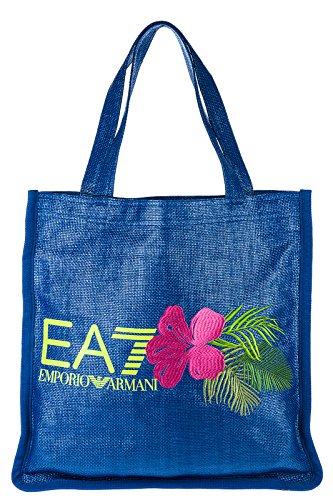 Emporio Armani EA7 Handtasche Damen Tasche Damenhandtasche Bag beach straw blu