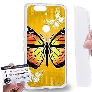Case88 [Huawei Nexus 6P (2015)] Gel TPU Carcasa/Funda & Tarjeta de garantía - Art Design Yellow Butterfly