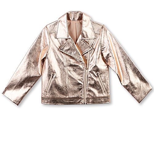 (Speechless Girls' Big Embroidered Moto Jacket, Rose Gold)