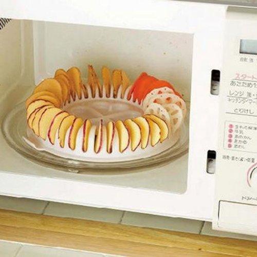 (DIY Potato Chips Maker Baking Tray Low Calories Microwave Oven DIY Baked Potato Chips Slicer/Cooker Roaster Snack Maker Set Home Baking Tool)