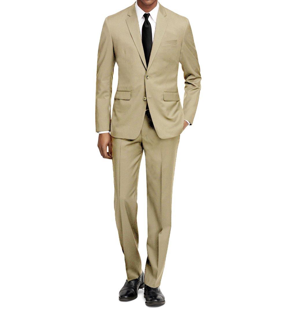 MDRN Uomo Men's Slim Fit 2 Piece Suit, Tan, Size 38R/32W