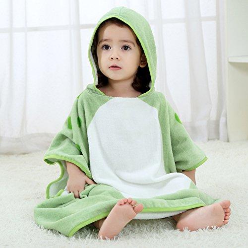 NEWEST Animal Hooded Baby Towel Cotton Bathrobe for Boys Girls 0-7 Year (Green, 0-7 Year)