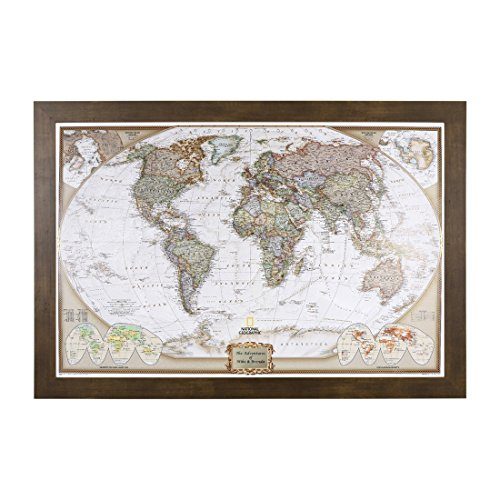 Push Pin Travel Maps Personalized Executive World with Rustic Brown Frame and Pins - 27.5 inches x 39.5 inches