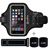 Phone Armband, QUANFUN Sports Armbands Runners Sweatband Running Jogging Arm band with Extender + 2PCS Sweat Wristband For Man/Women Smartphones Samsung Galaxy S7 S5 S6 Edge Plus(Black, 5.5 inch)
