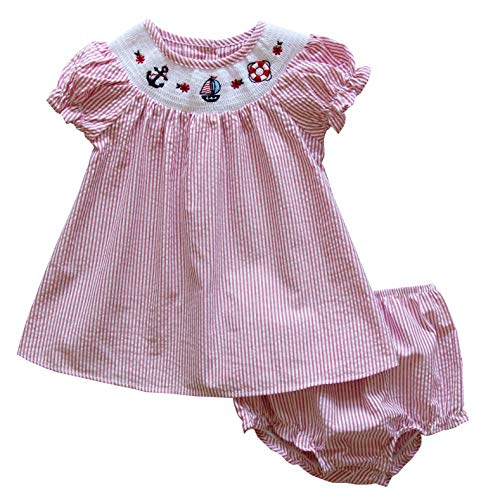 Good Lad Girls Dress - Good Lad Newborn/Infant Baby Girls Seersucker Smocked Dresses with Nautical Embroideries (18M, Red)