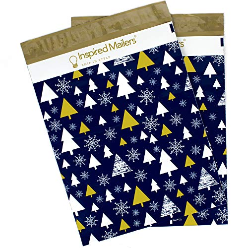 Inspired Mailers Poly Mailers 14.5x19 Deluxe Golden Christmas Trees – Pack of 50 – Unpadded Shipping Bags