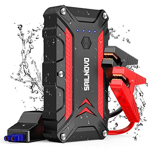 - Sailnovo Waterproof Car Jump Starter 1200A, 12V Portable Auto Battery Booster Pack (7.5L Gas & 6L Diesel Engine), Power Bank Type-C in/Out and Dual USB Quick Charge Ports
