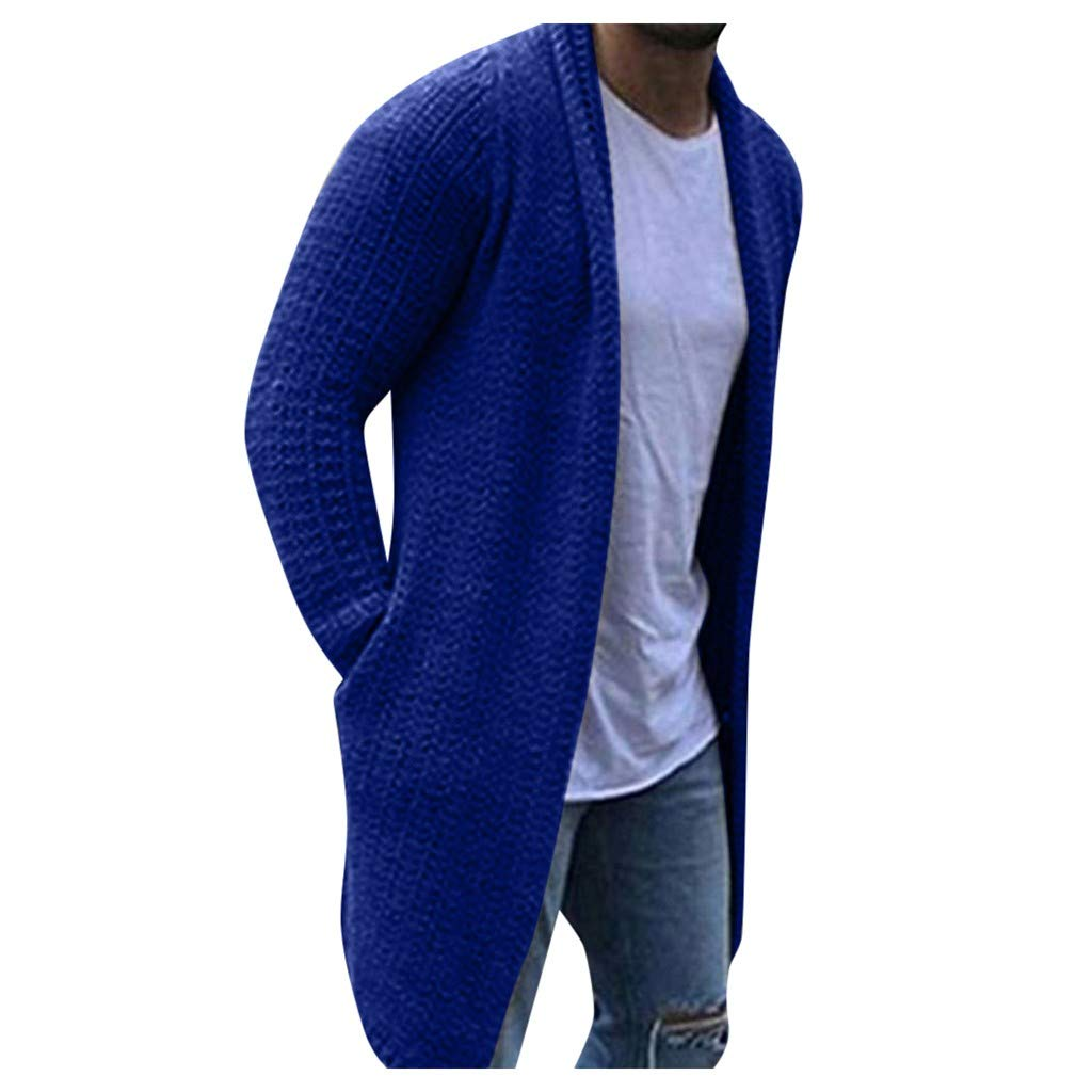 TWGONE Cardigan for Men Long Solid Streetwear Long Sleeve Knitted Sweaters Autumn Overcoat with Pockets(XXX-Large,Blue) by TWGONE