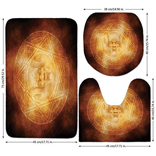 3 Piece Bathroom Mat Set,Horror-House-Decor,Demon-Trap-Symbol-Logo-Ceremony-Creepy-Ritual-Fantasy-Paranormal-Design,Orange.jpg,Bath Mat,Bathroom Carpet Rug,Non-Slip by iPrint