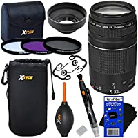 Canon EF 75-300mm f/4-5.6 III Telephoto Zoom Lens for Canon SLR Cameras (International Version) + 3pc Filter Kit (UV,FL-D,CPL) + 8pc Bundle Accessory Kit w/ HeroFiber Cleaning Cloth