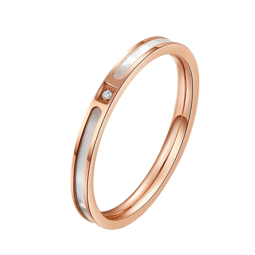 IFUAQZ 2mm Stainless Steel Rose Gold Thin Midi Stacking Ring for Women Girls CZ Wedding Band with Shell Size 9