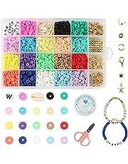 Qazuwa Klei Kralen Kralen Armband Ketting Maken Kit 18 Kleuren Kralen Om Zelf Te Rijgen Polymere Klei Kralen Platte Ronde Polymeer Voor Doe-het-zelf Sieraden, Halskettingen, Armbanden