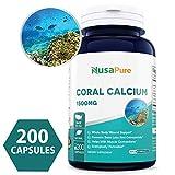 Coral Calcium 1500mg 200caps (Non-GMO & Gluten Free) Supports Bone Health & PH Levels- Contains Magnesium, 73 Minerals and Vitamin D3