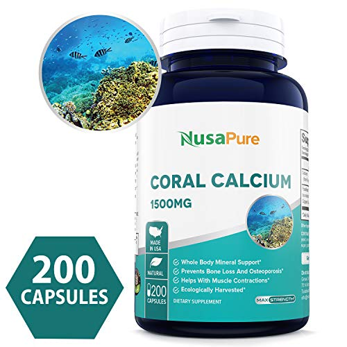 Coral Calcium 1500mg 200caps (Non-GMO & Gluten Free) Supports Bone Health & PH Levels- Contains Magnesium, 73 Minerals and Vitamin D3