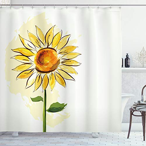 """Ambesonne Flower Shower Curtain, Summer Sunflower in Watercolor Soft Pastel Toned Large Petals Artwork, Cloth Fabric Bathroom Decor Set with Hooks, 70"""" Long, Yellow Fern"""