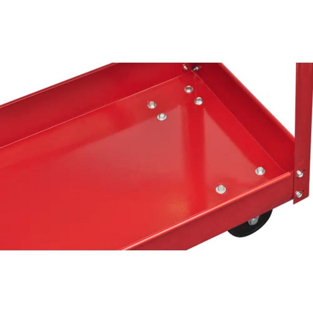SOULONG 2 Chariot /à Outils dAtelier de Montage avec 2 /étag/ères Charge Maximale 100 kg Le Transport Facile et S/écuritaire de Vos Outils dans l/'Atelier et Le Garage Rouge