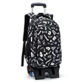 Children's school bag Student backpack rolling backpack wheel high capacity bag backpack for students to climb stairs schoolboy backpack teen boy girl school bag ( Color : Black , Size : Free size )