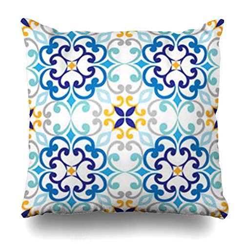 YeaSHARK Throw Pillow Covers Art Blue Mediterranean On Italian Tiles Majolica Indian Vintage Pattern Abstract Antique Arabic Zippered Design Square 18
