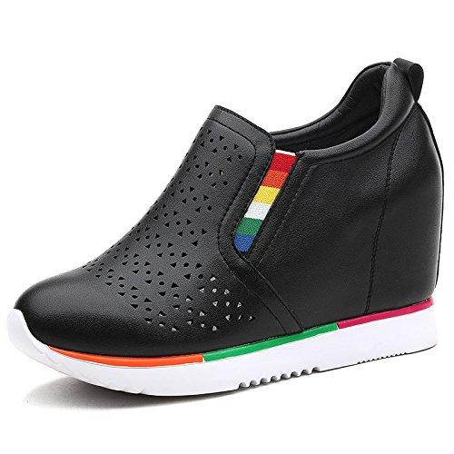 Zapatos black Interior El De Zapatos Pies Le De Aumenta Ocio Fu Comodo Mujer Tacones Pendiente KPHY Altos 2Cm Marea Zapatos De Tacon Juego Primavera ZpxqAg