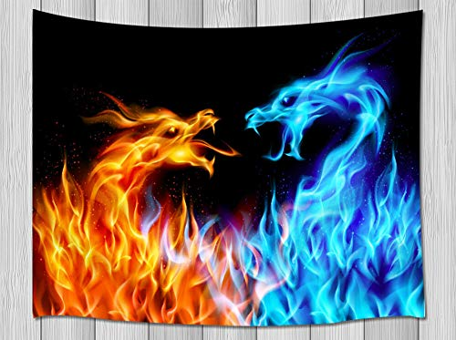 NYMB Ice Fire Dragon Tapestry, Fantasy World Giant AnimalsTapestry Wall Hanging Mythology, Psychedelic Dragon Wall Blanket for Bedroom Living Room Dorm Home Decor, 71X60 -