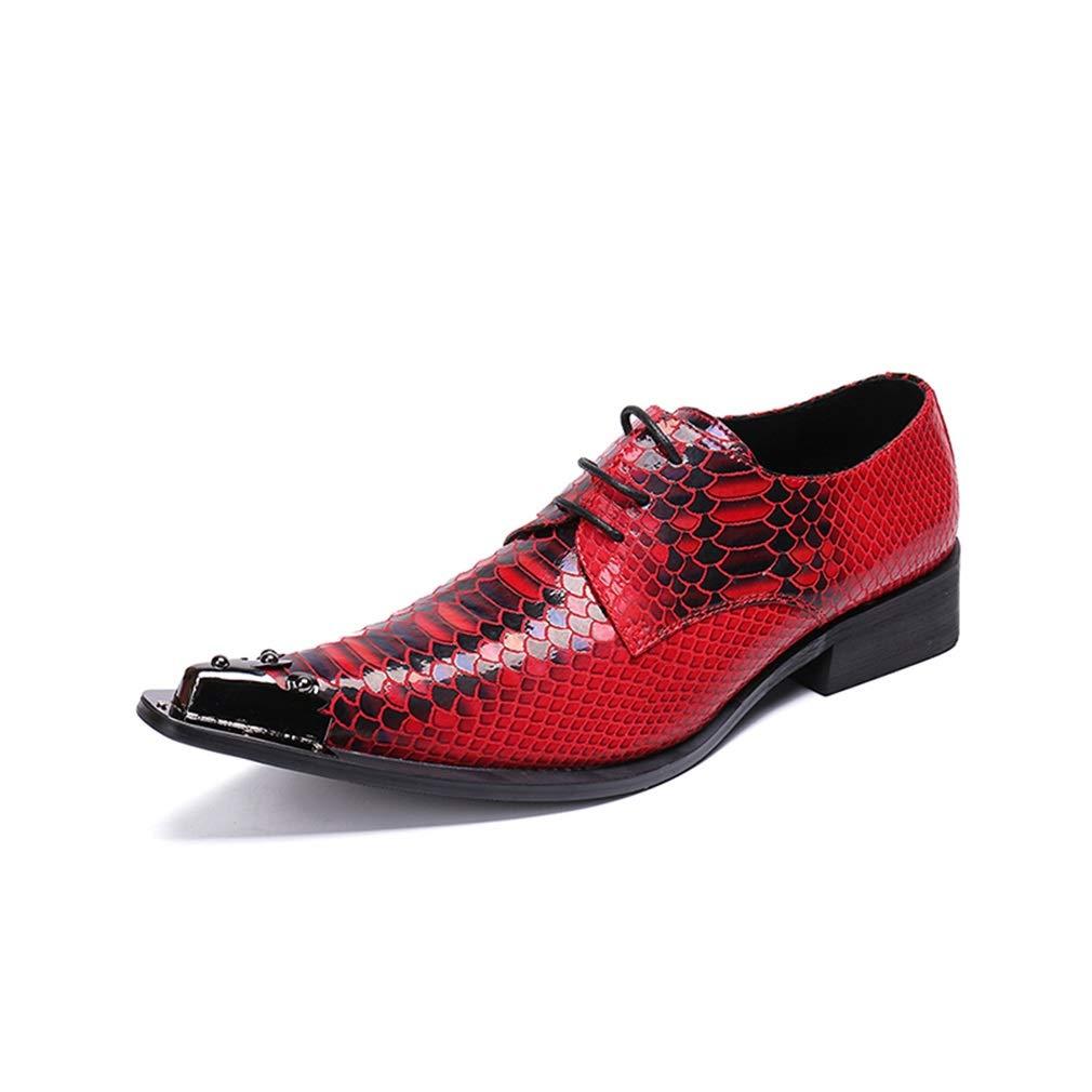 Hy Herren Formale Schuhe, Leder Herbst Winter schnüren Sich Oben Formale Geschäftsschuhe, Mens wies Persönlichkeit T-Stage Catwalk Schuhe (Farbe   Weinrot, Größe   37)