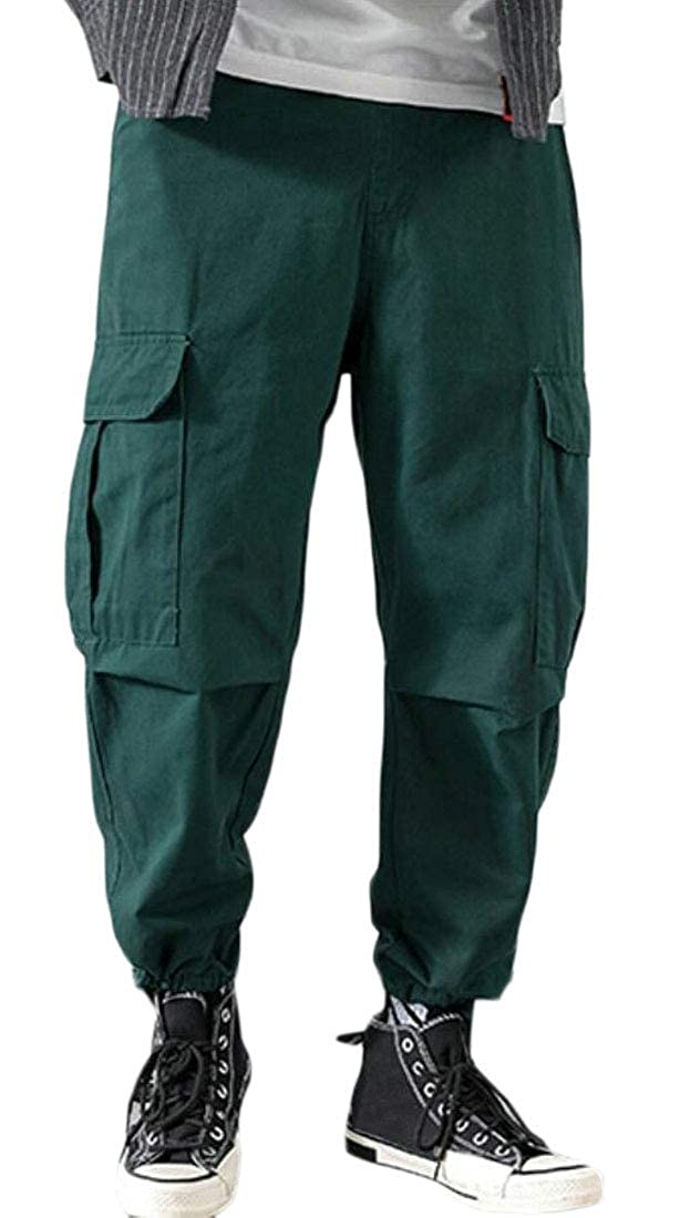 Suncolor8 Mens Elastic Waist Casual Plain Pockets Loose Jogger Cargo Pants