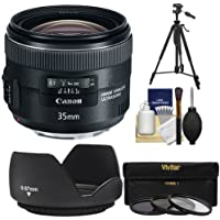 Canon EF 35mm f/2 IS USM Lens with 3 UV/ND8/CPL Filters + Hood + Tripod + Cleaning Kit for EOS 6D, 70D, 5D Mark II III, Rebel T3, T3i, T4i, T5, T5i, SL1 DSLR Cameras