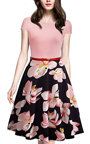 HOMEYEE Women's 1950s Vintage Elegant Cap Sleeve Swing Party Dress A009 (M, Light (Cap Sleeve Vintage Cap)