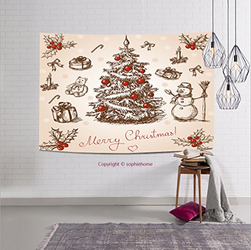 sophiehome-118104736 Hand drawn christmas card in vintage stile. Raster version. Vector is also available in my gallery tapestry wall hanging magical thinking tapestry 36W x 24L Inches (Pagan Version Of Christmas)